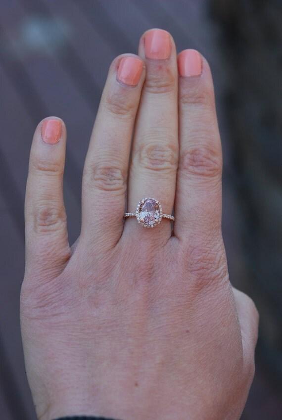 Peach Sapphire Ring, Peach Sapphire Engagement Ring, Champagne Sapphire Ring, Oval Cut Engagement Ring, 14k Rose Gold ring
