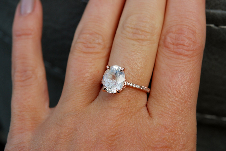 412ct White Sapphire Ring, White Sapphire Engagement Ring, White Sapphire  Ring, Oval Cut Engagement Ring, 14k Rose Gold