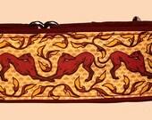 "Jane Walker Art Nouveau Fabric - 2"" Gold & Burgandy Martingale Collar-"