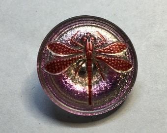Medium Pink Iridescent Czech Glass Button with Metal Shank 23mm