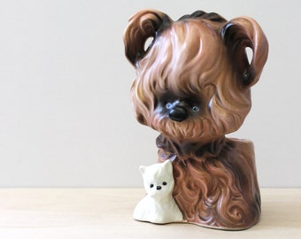 Puppies. Charming vintage Inarco dog planter.