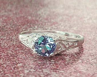Petite Lab Created Color Change Sapphire Sterling Silver Filigree Ring, Cavalier Creations