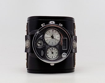 Steampunk wrist watch. Biker watch.