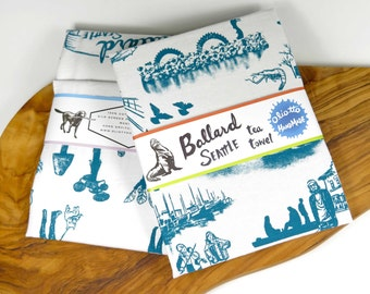 Tea Towel Turquoise Blue Seattle Ballard White Flour Sack 100% Cotton