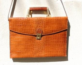 Vintage faux crocodile leather attache with strap.  Business case, IPad, tablet case