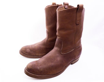 vintage RED WING work boots // Pecos pull-on ropers // Made in USA // brown leather boots // size 12 3E