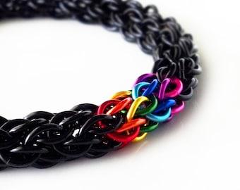 Chainmaille Bracelet - BLACK RAINBOW - chain link bracelet, lgbt jewelry, pride bracelet, renaissance faire jewelry, chainmaille jewelry