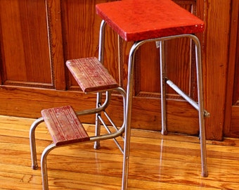 Vintage stool - step stool - kitchen stool - Gilton Mfg - chair - fold-out steps - pull-out steps - red - metal - chrome