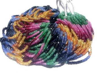 "16"" strand 2-2.5mm AAA Multi Precious Faceted Rondelles Emerald, ruby, pink sapphire, blue sapphire, orange sapphire, yellow sa"
