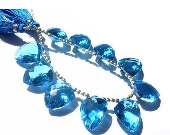 50% Off Valentine day 7 Inches - Extremely Beautiful AAA Swiiss Blue Quartz Faceted Fancy Briolettes Size 18x14mm 8 Pcs 4 Matched pair