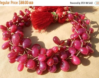 50% Off Valentine day 8 Inches - Genuine Ruby Smooth Pear Briolettes Size 7x6 - 12x9mm approx Finest Quality Wholesale price