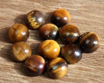 5 Pcs 15mm Natural Tiger Eye Round Cabochon / Tiger Eye Gemstone Cabochon / Jewelry Making / Loose Gemstone DO16