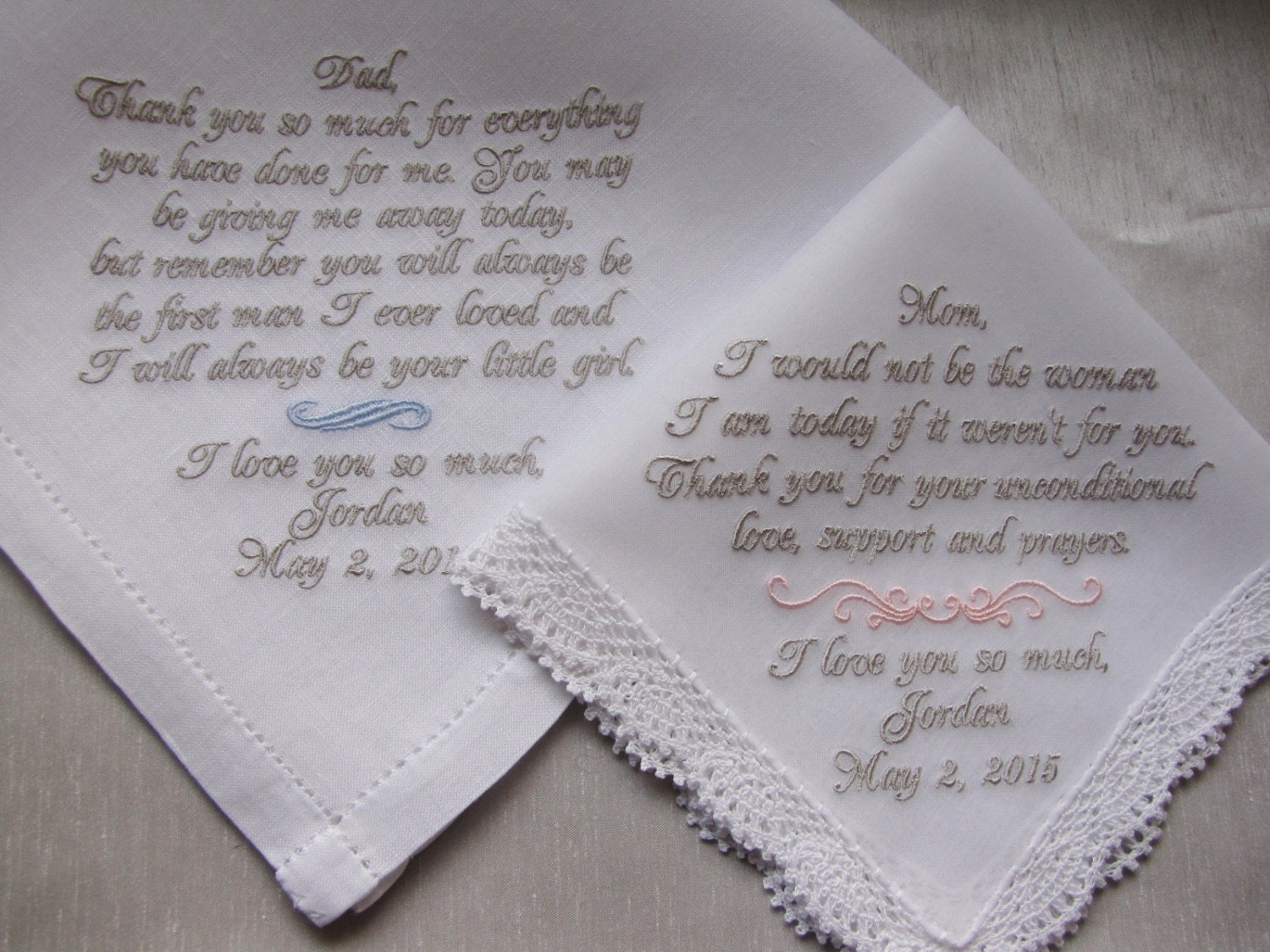 Personalized Custom Wedding Handkerchiefs For Parents Of The