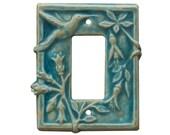 Hummingbird Ceramic Light Switch & Outlet Cover- single rocker decora GFI in aqua stone glaze