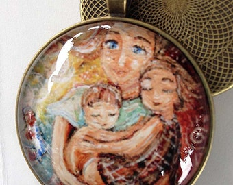 Love Like A Song ~ 1.5 inch round glass art pendant, mom with boy and girl