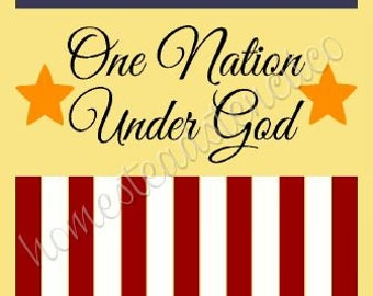 PRIMITIVE STENCIL - 6484 N - One Nation Under God Flag - Clear 5Mil Mylar -Make Your Own Sign
