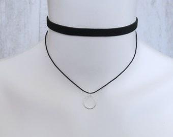 Double Banded Black Choker Circle Pendant Silver Minimalist