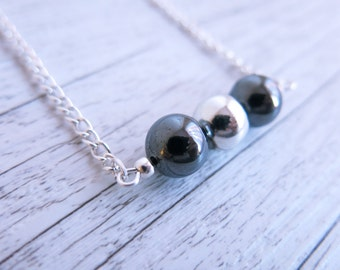 Hematite Necklace Beaded Bar Silver Ball Necklace Minimalist Necklace
