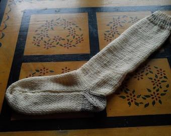 Hand Knit Fisherman,s Wool Knee Socks Women,s/Men,s Medium Size 8-10 Natural Cream