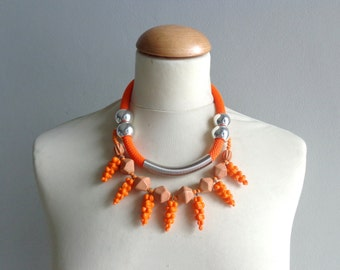 Tribal orange statement colorful necklace rope necklace