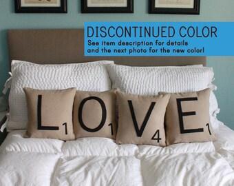 LOVE Scrabble Pillows - CASES ONLY // Scrabble Tile Pillows // Letter Pillow Cushions