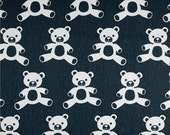 Blue and White Teddy Bear Valance - Premier Prints Teddy Twill Gunmetal/White  - Nursery Valance