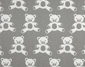 Grey and White Teddy Bear Valance -  Premier Prints Teddy Twill Storm/White - Nursery Valance