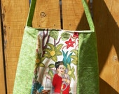 Frida in the Garden and Green Vines Hip Bag Tote Cross Body Strap