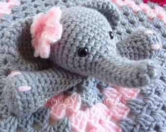 Elephant Lovey Ready To Ship Hand Crocheted Stuffie Security Blanket Gifts For Children