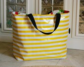 beach bag LARGE oilcloth tote // pool tote reversible washable lined extra large huge bag / gold black white stripe dot floral