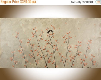 """Contemporary wall art 48"""" large wall art copper art copper home decor brown grey canvas art love birds wall decor shabby chic by QiQigallery"""