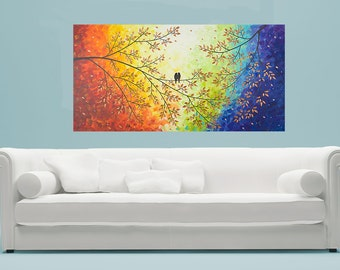 "Modern Wall Art Acrylic painting  Hand Paint Love birds Wall decor wall hangings decorative canvas art ""Over the Rainbow"" by qiqigallery"
