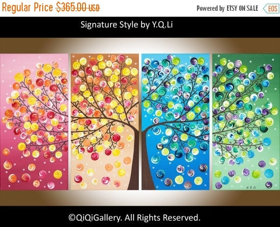 """Original Large Abstract tree painting gift for her acrylic wall art canvas art four seasons tree""""365 Days of Happiness"""" by qiqigallery"""