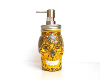 Painted Skull: Hand painted glass Skull shaped Soap Dispenser Yellow Sugar skull Painted jar Skull art