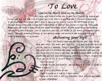Faery LOVE Glyph SIGIL, Instant Download Page Urban An Leabhar Book of Secrets, Glamerie Pages, BOS