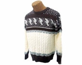 Vintage Ski Sweater Mens 70s Cream & Brown Pullover Sweater Size Large Long Sleeve Cable Knit Sweater Fair Isle Intarsia Skier Design
