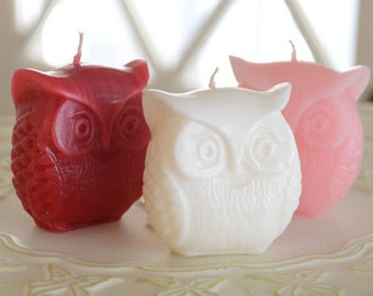 Set of 3 Valentine's Day inspired Owl Candles Red White and Pink