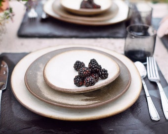 "Ceramic dinner plate, 11"" white dinner plate, handmade pottery plate, cheese plate, serving plate, White Chamois glaze, ceramic plate"