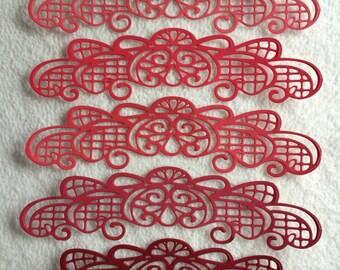 Scrapbook Borders...5 Piece Set of Very Beautiful Shades of Red Scrapbook Border Embellishments