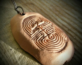 Terra cotta labyrinth essential oil diffuser necklace
