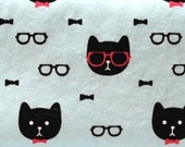 Zippered Insert for Midori Travelers Notebook, Standard Size, Personal Size, Passport Size - Cats with Glasses