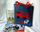 Kids Fire Truck Tote Bag Personalized Kids Tote Bag Red Fire Truck Bag Children's Book Bag Toddler Bag Christmas Gift Bag Preschool Bag