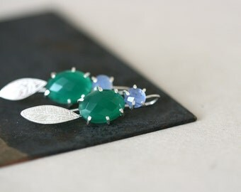 Blue and Green Onyx Form Studs