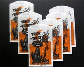 One Day Only Holiday Sale Vintage Trick or Treat Bags, Six, Scary Cat, Haunted House, Halloween