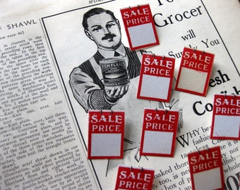 Vintage Sale Price Store Tags with Pins, Set of 10