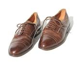 Size: 10.5 Men's Cap Toe Oxford Brown Leather Dress Shoes