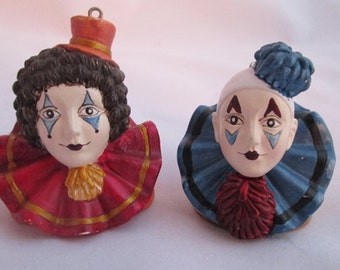 Vintage Pierrot Clown Ornament Set of Two.  Clown Head Ornaments - Resin Clown Ornaments - French Clown Ornaments