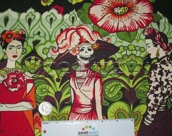 FRIDA La CATRINA Eggplant BORDER Print - Alexander Henry Cotton Quilt Fabric by the Yard - Frida Khalo