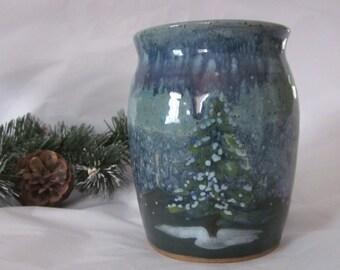 WINTER Scene Vase 4 3/4 inch Stoneware Pottery