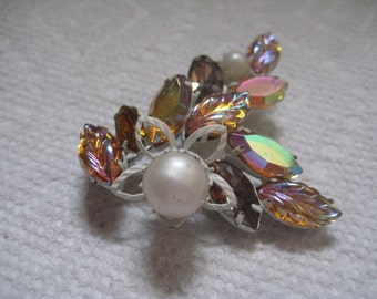 Continental White Enameled Floral Pin with Faux Pearls Molded Leaf Stones and Navette Rhinestones